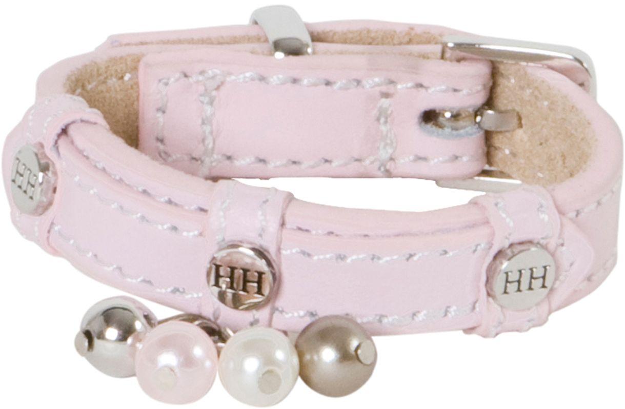 Ошейник для собак Happy House Beads, цвет: розовый, обхват шеи 15-18 см, ширина 1,2 см. Размер XXXS6103Ошейник для собак Happy House Beads станет изысканным аксессуаром для вашей собачки. Ошейник выполнен из натуральной гладкой и замшевой кожи. Он украшен клепками, контрастной строчкой и подвесками. Размер ошейника регулируется при помощи металлической пряжки. Имеется металлическое кольцо для крепления поводка. Клеевой слой, сверхпрочные нити, крепкие металлические элементы делают ошейник надежным и долговечным. Изделие отличается высоким качеством, удобством и универсальностью.Ваша собака тоже хочет выглядеть стильно! Такой модный ошейник станет для питомца отличным украшением и выделит его среди остальных животных. Обхват шеи: 15-18 см. Ширина ошейника: 1,2 см.