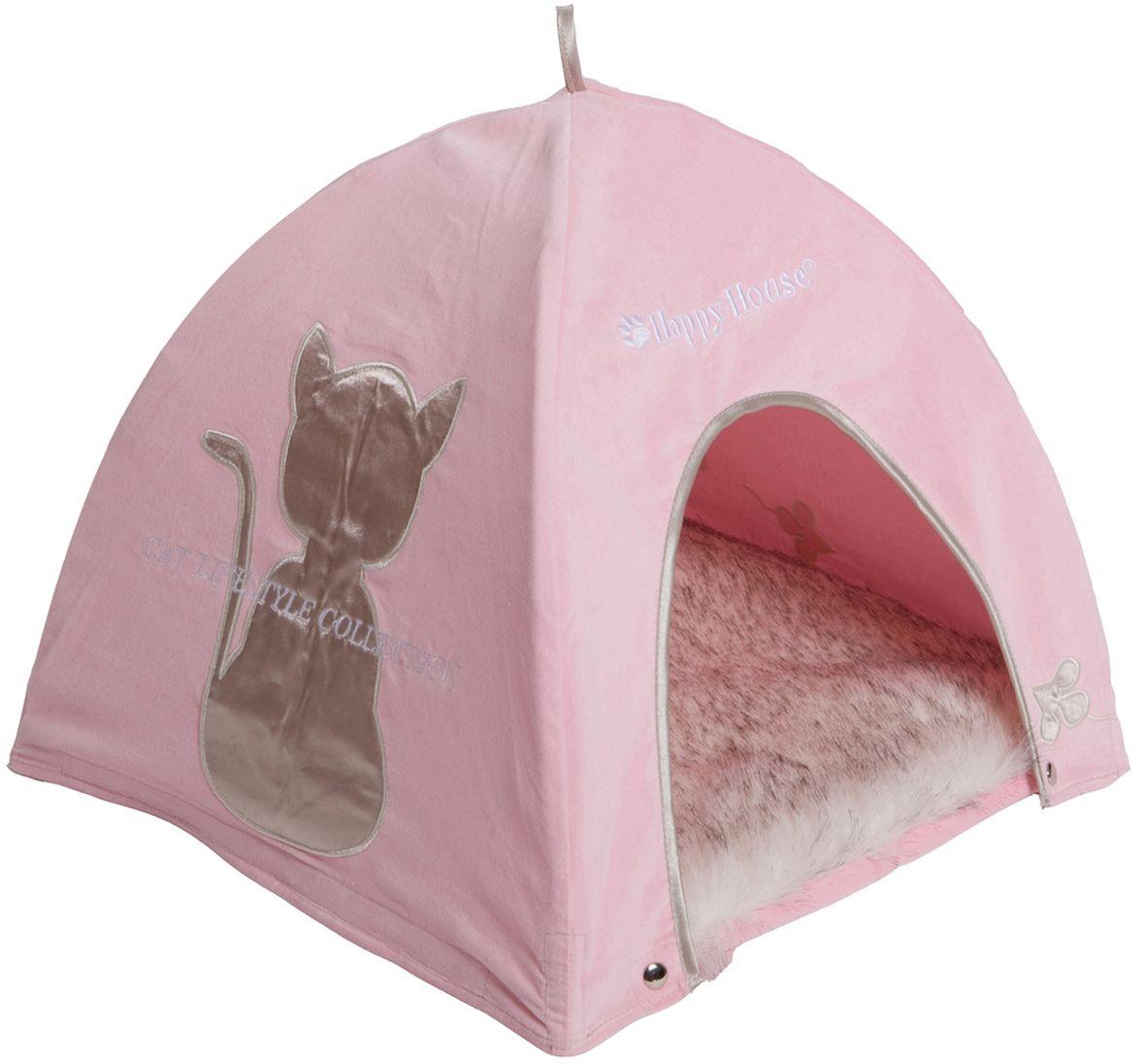 Домик для кошек Happy House Cat Lifestyle, цвет: розовый, 41 х 41 х 39 см0120710Домик Happy House Cat Lifestyle обязательно понравится вашему питомцу. Изделие выполнено из полиэстера в виде палатки. Домик очень удобный и уютный, с маленьким проемом, куда ваш любимец обязательно захочет забраться. Верх мягкой съемной подстилки выполнен из искусственного меха. Встроенный гибкий каркас позволяет просто собирать и разбирать домик, облегчая транспортировку и хранение. Домик крепится к подстилке при помощи липучек и кнопок.Компактные размеры позволят поместить изделие, где угодно и станет оригинальным дополнением любого интерьера. Домик оснащен петлей, за которую его можно подвесить.
