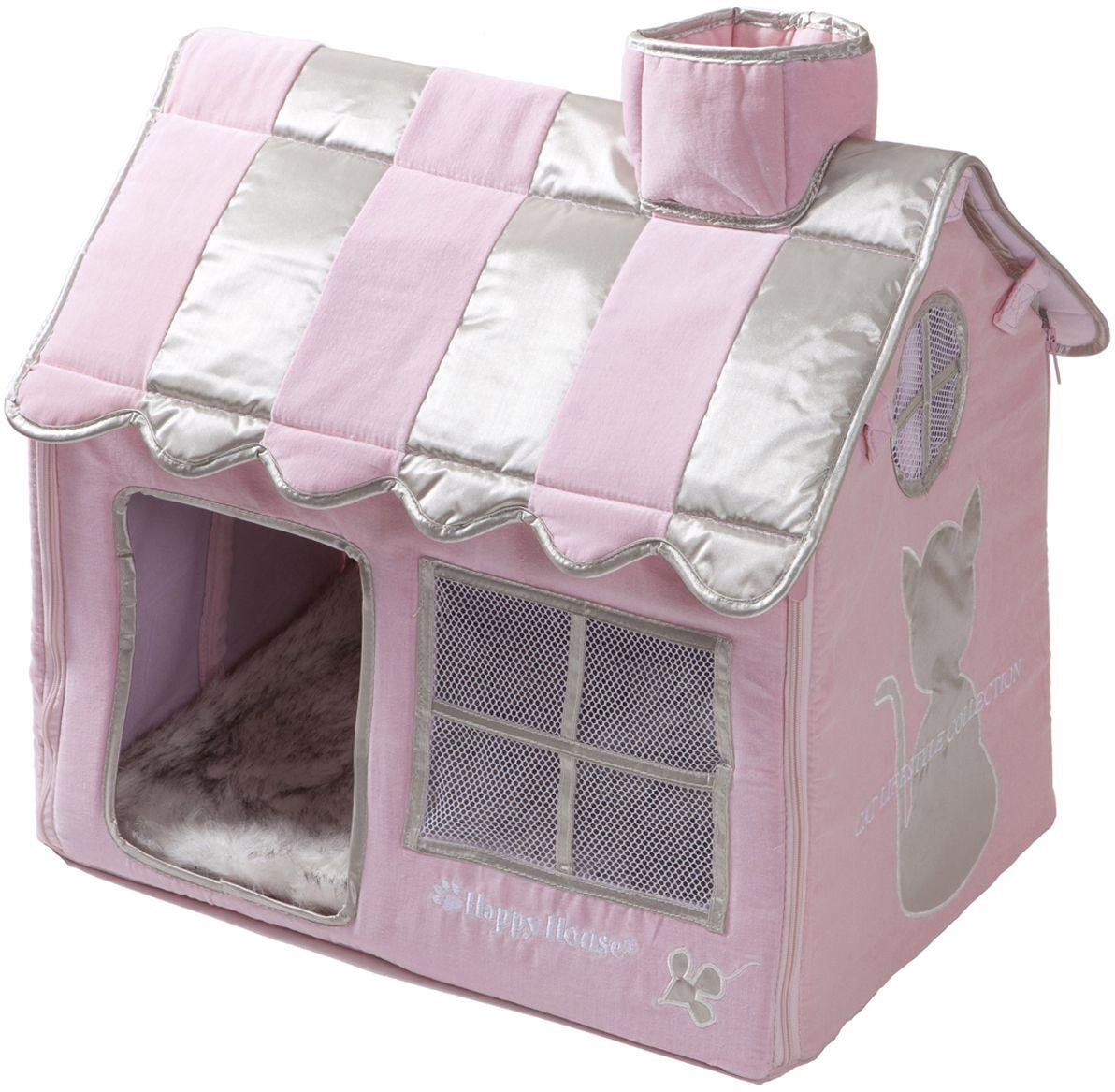 Домик для кошек Happy House Cat Lifestyle, цвет: розовый, 52 х 36 х 49 см0120710Большой, уютный домик Happy House Cat Lifestyle, выполненный из полиэстера и картона, отлично подойдет для вашего любимца. Такой домик станет не только идеальным местом для сна вашего питомца, но и местом для отдыха. Внутрь домика ведет квадратное отверстие. Мягкий домик с оригинальным дизайном имеет сборную конструкцию, что облегчит его транспортировку и хранение. Внутри имеется съемная подушка из искусственного меха.Размер домика: 52 х 36 х 49 см.