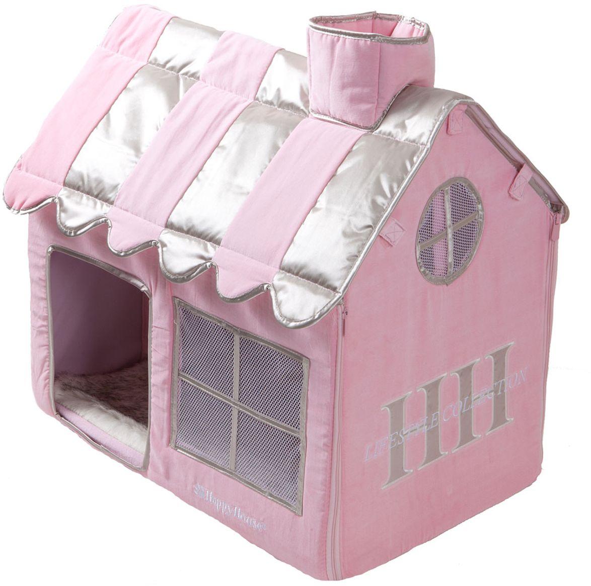 Домик для кошек Happy House Cat Lifestyle, цвет: розовый, 62 х 42 х 59 см0120710Домик Happy House Cat Lifestyle непременно станет любимым местом отдыха вашего домашнего любимца. Изделие выполнено из картона и обтянуто бархатной тканью с атласными вставками. Внутри имеется мягкая съемная подстилка из искусственного меха. Крыша домика крепится при помощи липучек и полностью снимается, а каркас соединяется застежкой-молнией. В таком домике вашему питомцу будет мягко и тепло. Он подарит ему ощущение уюта и уединенности, а также возможность спрятаться. Очень удобен для транспортировки и легко складывается.