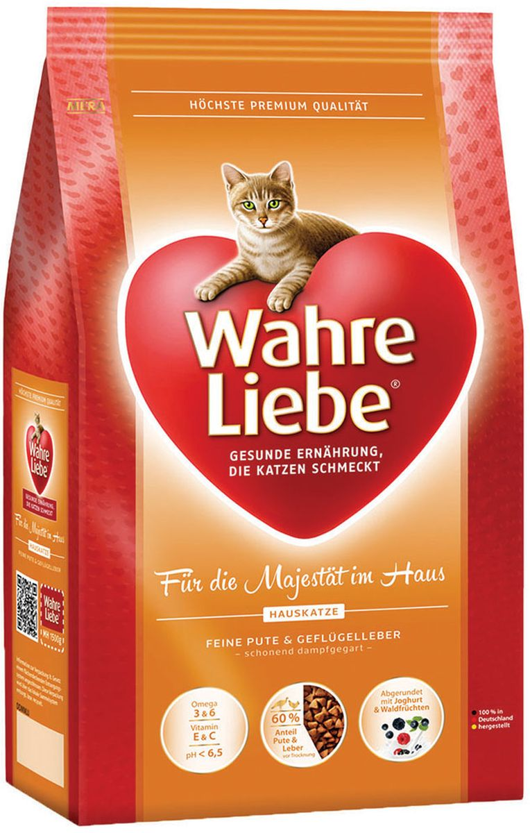 Корм сухой Wahre Liebe Hauskatze, для домашних кошек, 1,5 кг0120710Wahre Liebe - это корм, произведенный в Германии, он обладает превосходным вкусом и ароматом, которые не оставят равнодушной даже самую привередливую кошку. Ведущий ветеринарный врач завода Mera учел все потребности организма кошки, разработал идеальную формулу корма и назвал ее - Wahre Liebe, что в переводе с немецкого Истинная любовь.Wahre Liebe - не только подарит любовь и заботу питомцу, но и обеспечит его здоровьем и долголетием на всю жизнь.Корм Wahre Liebe это:- 68% свежего мяса,- устойчивая кишечная микрофлора и отличное пищеварение,- профилактика волосяных комочков,- поддержка иммунитета на клеточном уровне,- сбалансированное и полнорационное питание.Wahre Liebe - это истинная любовь для кошек с характером. Это истинно немецкое качество.Состав: мука из мяса птицы (18% курица, 4% индейка), кукуруза, кукурузный глютен, ячмень,животный жир (птицы, говядины), рис (4%), мука из шкварок, куриный белок (гидролизованный), свекловичная стружка (2% обессахаренная), целлюлозная клетчатка (2%), масло лосося (1,2%), печень домашней птицы (1%, высушенная), хлорид натрия, масло льняных семян (1%), подсолнечное масло (0,8%) , пивные дрожжи (сушеные), порошок цикория (инулин 0,3%), высушенное яйцо, порошок из йогурта (0,2%), порошок из лесных плодов (0,1%), дрожжевой экстракт (0,04%, богатые бета-глюканами), порошок из цветов бархатцев (0,03%, богат лютеином), порошок из Юкки Шидигера.Товар сертифицирован.