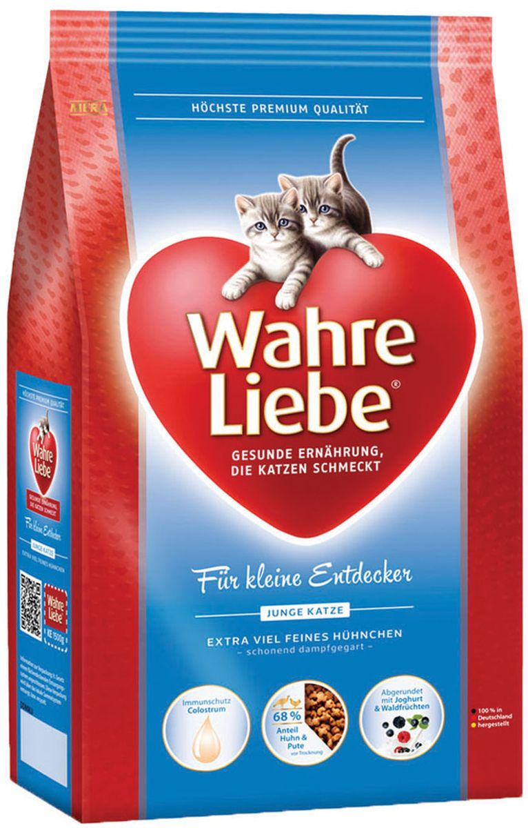 Корм сухой Wahre Liebe Junior, для котят, 400 г0993Wahre Liebe - это корм, произведенный в Германии, он обладает превосходным вкусом и ароматом, которые не оставят равнодушной даже самую привередливую кошку. Ведущий ветеринарный врач завода Mera учел все потребности организма кошки, разработал идеальную формулу корма и назвал ее - Wahre Liebe, что в переводе с немецкого Истинная любовь.Wahre Liebe - не только подарит любовь и заботу питомцу, но и обеспечит его здоровьем и долголетием на всю жизнь.Корм Wahre Liebe это:- 68% свежего мяса,- устойчивая кишечная микрофлора и отличное пищеварение,- профилактика волосяных комочков,- поддержка иммунитета на клеточном уровне,- сбалансированное и полнорационное питание.Wahre Liebe - это истинная любовь для кошек с характером. Это истинно немецкое качество.Состав: мука из мяса птицы (курица - 26%, индейка - 4%), рис (14%), кукурузный глютен,животный жир (птица), кукуруза, пшеничный глютен, куриный белок (гидролизованный), свекловичная стружка ( обессахаренная, 3,5%), масло лосося (2%), подсолнечное масло (1,4%), масло льняных семян (1%), куриная печень (1%, высушенная), целлюлозная клетчатка (1%), молозиво (коллострум, 0,5% богат иммуноглобулинами), пивные дрожжи (сухие), хлорид натрия, хлорид калия, высушенное яйцо, порошок цикория (0,2%, богатый инулином),порошок изйогурта (0,2%), дрожжевой экстракт (0,04%, богат бета-глюканами),порошок из лесных плодов (0,1%), порошок из цветов бархатцев (0,03%, богат лютеином), порошок из Юкки Шидигера. Товар сертифицирован.