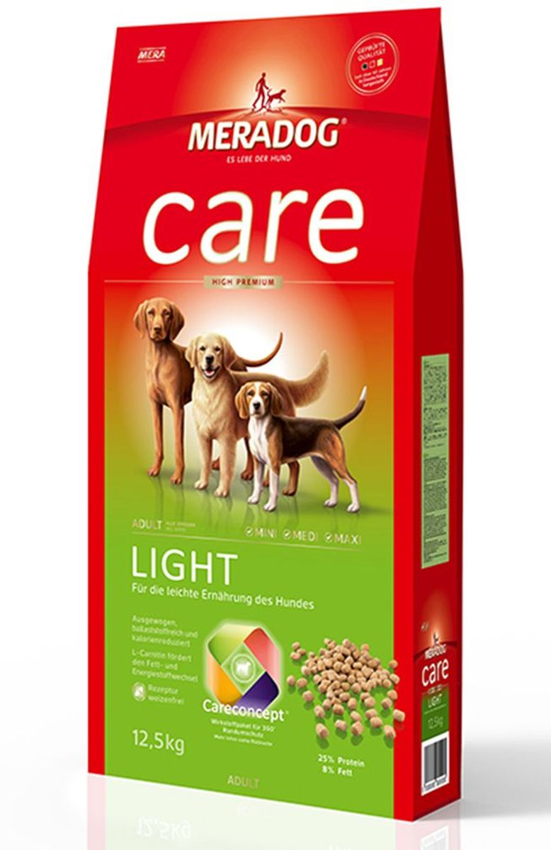Корм сухой Meradog Light, для взрослых собак, склонных к лишнему весу, 12,5 кг0120710Миллионы собак по всему миру благодарят своих хозяев за любовь, заботу и Meradog.Аппетитное мясное или рыбное филе с отборным рисом, кукурузой или картофелем, ароматные морепродукты, приготовленные особым способом в сочетании с натуральными овощами - в этот вкус невозможно не влюбиться.Ведущий ветеринарный врач завода Mera - доктор Стефан Мандель смог разработать идеальную формулу здоровья для вашего члена семьи - Meradog.Всем известно, что немецкие корма обладают не только безупречным качеством, но и идеальным вкусом. А все это благодаря:- высокому проценту мяса,- комплексу необходимых витаминов,- колоструму, обеспечивающего иммунную защиту,- оптимальному полнорационному составу.Сделайте счастливым вашего питомца, просто - подарите ему Meradog.Состав: кукуруза, мука из мяса птицы (курица - 20 %), ячмень, кукурузный глютен, целлюлозная клетчатка (4,5 %), рис, животный белок (гидролизованный), кукурузная глютеновая мука, свекловичная стружка обессахаренная), рыбная мука (1,5 %), животный жир, масло льняных семян (1 %), яичный порошок (1 %), дрожжевой экстракт (1 %, сухой), хлорид натрия, масло лосося (0,25 %), карбонат кальция, подсолнечное масло (0,1%), порошок цикория ( =0,1 % инулин), порошок из Юкки Шидигера (0,01 %). Особенности: антиоксиданты (витамин C, Е, бета-каротин и селен) для оптимальной защиты клеток. Натуральные жирные кислоты Омега-3 и Омега-6 (масло лосося, подсолнечное масло и масло льняных семян), а также хелат цинка для кожи и шерсти. Пребиотический инулин для стабильной кишечной флоры и надежного пищеварения. Формула Запах, стоп! - комплекс биологически активных веществ для уменьшения неприятного запаха от собаки. L-карнитин способствует жировому и энергетическому обмену. Богат клетчаткой для низкокалорийного питания. Источники высококачественного белка (птица, яйца, рыба) для поддержания оптимального телосложения и жизнеспособности.Товар сертифицирован.