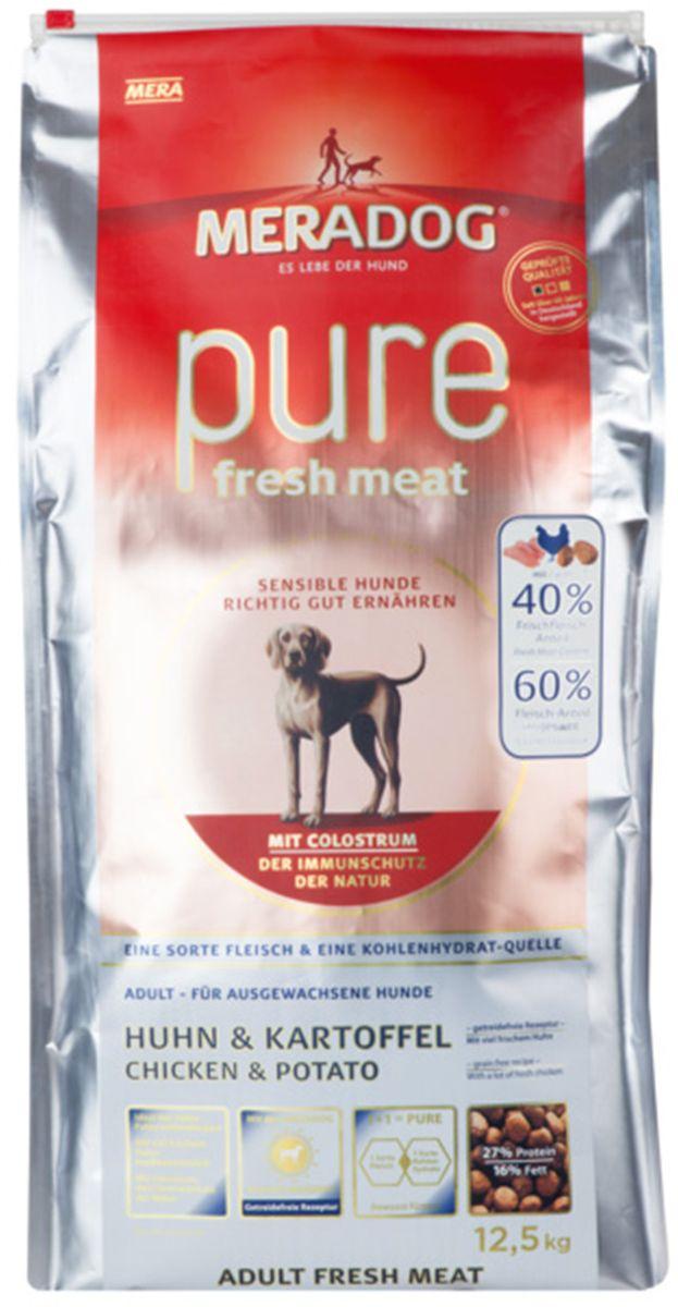 Корм сухой Meradog Pure Fresh Meat Huhn & Kartoffel, для собак, со свежей курицей и картофелем, 300 г0120710Полнорационный беззерновой корм для собак и концепция защиты от MERADOG: антиоксиданты (витамин С, Е, бета-каротин и селен) для оптимальной защиты клеток. Натуральные жирные кислоты Омега-3 и Омега-6 (масло лосося, подсолнечное масло, масло льняных семян), а также хелат цинка для кожи и шерсти. Пребиотический инулин для стабильной кишечной флоры и надежного пищеварения. Идеальный корм при многих видах пищевых аллергий: только один источник углеводов и только один вид мяса. Молозиво, маннанолигосахариды и бета-глюканы для оптимальной иммунной защиты.