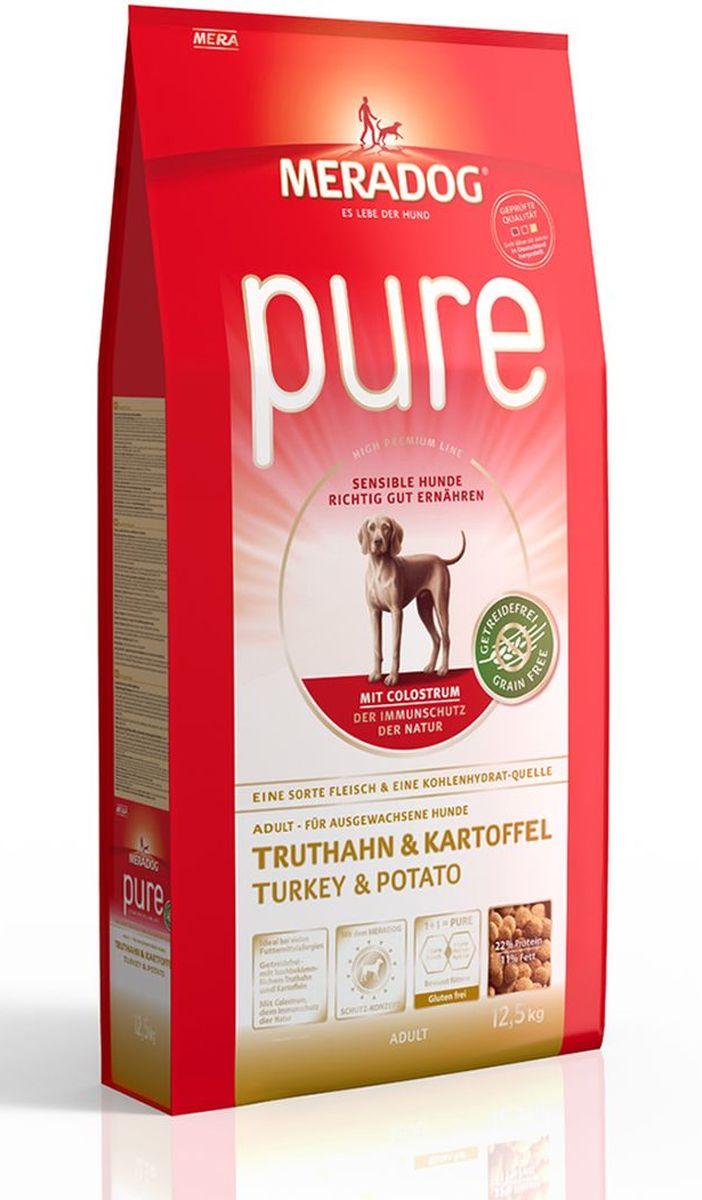 Корм сухой Meradog Pure Turkey & Potato, для взрослых собак с проблемами в питании/аллергиями, без злаков, с индейкой и картофелем, 300 г0120710Полнорационный корм для взрослых собак с проблемами в питании и/или аллергиями. Без злаков – с легкоусвояемой индейкой и картофелем и концепция защиты от MERADOG:антиоксиданты (витамин C, Е, бета-каротин и селен) для оптимальной защиты клеток. Натуральные жирные кислоты Омега-3 и Омега-6 (масло лосося, подсолнечное масло и масло льняных семян), а также хелат цинка для кожи и шерсти. Пребиотический инулин для стабильной кишечной флоры и надежного пищеварения. Высококачественный животный белок (индейка) для поддержания оптимального телосложения и обмена веществ. Идеально при многих пищевых аллергий. Только один источник углеводов и только один вид мяса. Колострум, маннан-олигосахариды и бета-глюканы для оптимальной иммунной защиты.