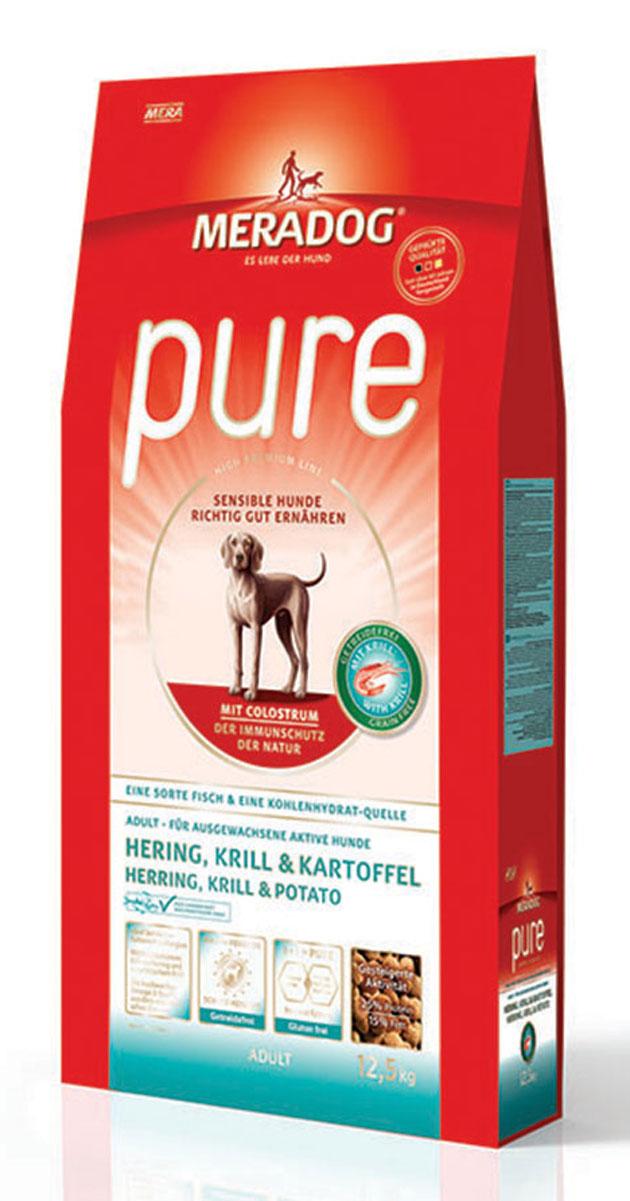 Корм сухой Meradog Pure Hering, Krill & Kartoffel, для взрослых собак с чувствительным пищеварением, склонных к аллергии, без злаков, с сельдью, крилем и картофелем, 12,5 кг101208Миллионы собак по всему миру благодарят своих хозяев за любовь, заботу и Meradog.Аппетитное мясное или рыбное филе с отборным рисом, кукурузой или картофелем, ароматные морепродукты, приготовленные особым способом в сочетании с натуральными овощами - в этот вкус невозможно не влюбиться.Ведущий ветеринарный врач завода Mera - доктор Стефан Мандель смог разработать идеальную формулу здоровья для вашего члена семьи - Meradog.Всем известно, что немецкие корма обладают не только безупречным качеством, но и идеальным вкусом. А все это благодаря:- высокому проценту мяса,- комплексу необходимых витаминов,- колоструму, обеспечивающего иммунную защиту,- оптимальному полнорационному составу.Сделайте счастливым вашего питомца, просто - подарите ему Meradog.Состав: картофель (47%, сухой), мука из сельди (17%), животный жир, картофельный белок, морской зоопланктон (криль, 4%, измельченный), свекловичная стружка (обессахаренная), животный белок (гидролизованный), масло льняных семян (2%), пивные дрожжи (2%), монофосфат кальция,целлюлозная клетчатка, молозиво коровье (0,5%, насыщено иммуноглобулинами), морские водоросли (0,5%, сухие), подсолнечное масло (0,4%), карбонат кальция, дрожжевой экстракт (сухой, = 0,2% бета-глюканы и маннанолигосахариды), инулин из салатного цикория (0,1%), порошок из мяса моллюсков (глюкозамин (0,02%), сульфат хондроитина (0,01%). Особенности: антиоксиданты (витамин C, Е, бета-каротин и селен) для оптимальной защиты клеток. Натуральные жирные кислоты Омега-3 и Омега-6 (криль, подсолнечное масло и масло льняных семян), а также хелат цинка для кожи и шерсти. Пребиотический инулин для стабильной кишечной флоры и надежного пищеварения. Необходимая энергетическая ценность, высококачественный животный белок (сельдь, криль) для поддержания оптимального телосложения и жизнеспособности. 