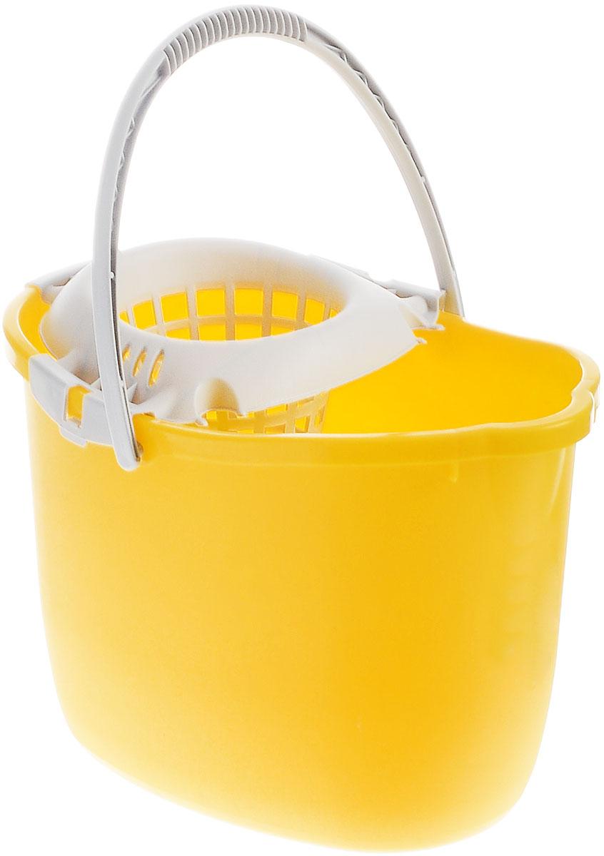 """Ведро для поломоя """"Apex"""", с отжимом, цвет: желтый, 15 л"""