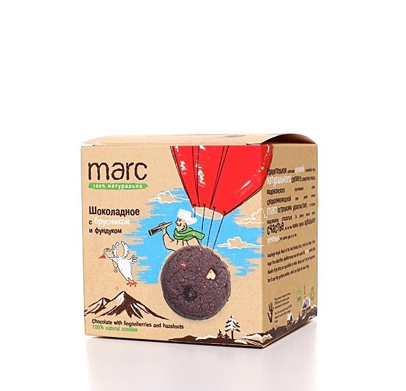 Marc шоколадное печенье с брусникой и фундуком, 50 г печенье умные сладости шоколадное