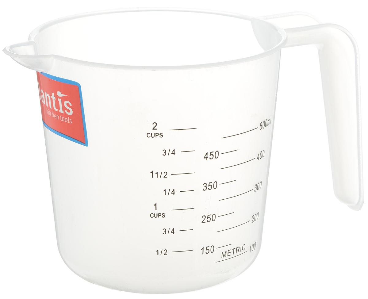 Стакан мерный Atlantis, 500 млFS-80299Мерный прозрачный стакан Atlantis выполнен из высококачественного пластика. Стакан оснащен удобной ручкой и носиком, которые делают изделие еще более простым в использовании. Он позволяет мерить жидкости до 500 мл. Также есть шкалы в пинтах и в чашках (Cup-шкала).Такой стаканчик пригодится на каждой кухне, ведь зачастую приготовление некоторых блюд требует известной точности.Объем: 500 мл.Диаметр (по верхнему краю): 11 см.Высота: 11 см.