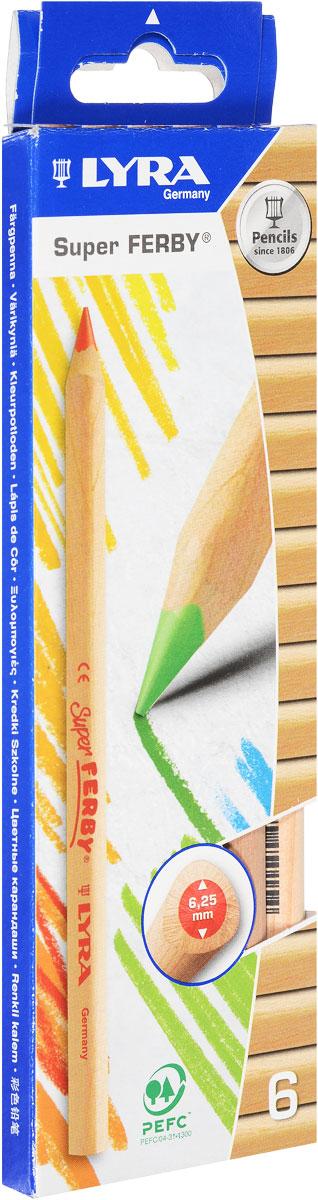 Lyra Набор цветных карандашей Ferby Nature 6 шт72523WDНабор цветных карандашей Lyra Ferby Nature откроют юным художникам новые горизонты для творчества, а также помогут отлично развить мелкую моторику рук, цветовое восприятие, фантазию и воображение.В комплекте: 6 заточенных цветных карандашей. Они имеют треугольную форму для удобного захвата. Идеально подходят для школы. Карандаши изготовлены из дерева, экологически чистые, с нелакированным покрытием. Имеют прочный неломающийся грифель с диаметром 6,25 мм, не требующий сильного нажатия и легко затачиваются.