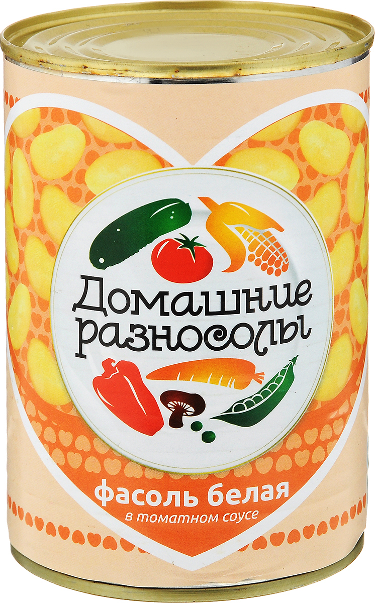 Домашние разносолы фасоль белая в томатном соусе, 425 мл