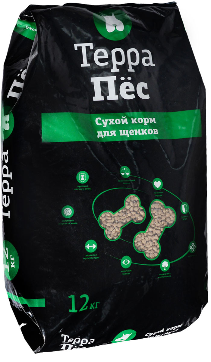 Корм сухой Терра Пес, для щенков, 12 кг00-00000465Сухой корм Терра Пес - это полноценное сбалансированное питание для щенков, разработанное с использованием современных технологий. В состав корма входят все необходимые питательные вещества, включая витамины. Корм легко усваивается и имеет прекрасный вкус. Основные питательные вещества гарантируют сильные кости, превосходные мускулы, здоровую кожу и шерсть.Порадуйте своего любимца вкусным и полезным продуктом. Товар сертифицирован.