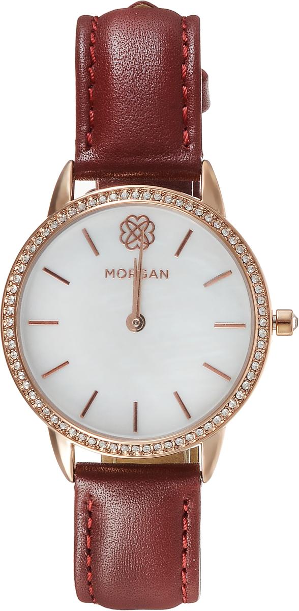 Наручные часы женские Morgan, цвет: красный. M1260RBM8434-58AEДвухстрелочный механизм VJ20; IP Rose Gold- покрытие; Размер корпуса 34 мм; Минеральное стекло; Белый перламутровый циферблат; Чешские кристаллы; Красный кожаный ремешок; Водозащита 3 АТМ