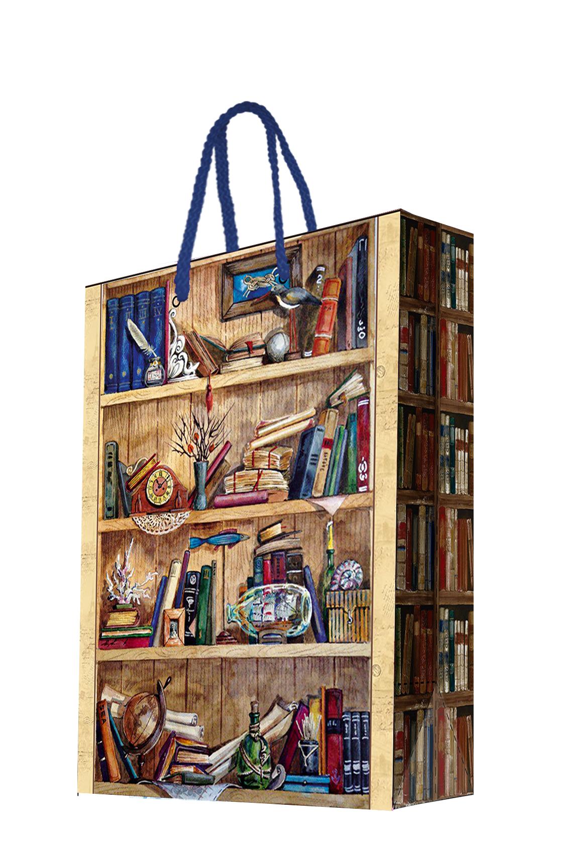Пакет подарочный Magic Home Книжные полки, 17,8 х 22,9 х 9,8 смNLED-454-9W-BKБумажный подарочный пакет Magic Home Глобус, изготовленный из плотной бумаги, станет незаменимым дополнением к выбранному подарку. Дно изделия укреплено картоном, который позволяет сохранить форму пакета и исключает возможность деформации дна под тяжестью подарка. Пакет выполнен с ламинацией, что придает ему прочность, а изображению - яркость и насыщенность цветов. Для удобной переноски имеются две ручки в виде шнурков. Подарок, преподнесенный в оригинальной упаковке, всегда будет самым эффектным и запоминающимся. Окружите близких людей вниманием и заботой, вручив презент в нарядном, праздничном оформлении.Плотность бумаги: 140 г/м2.