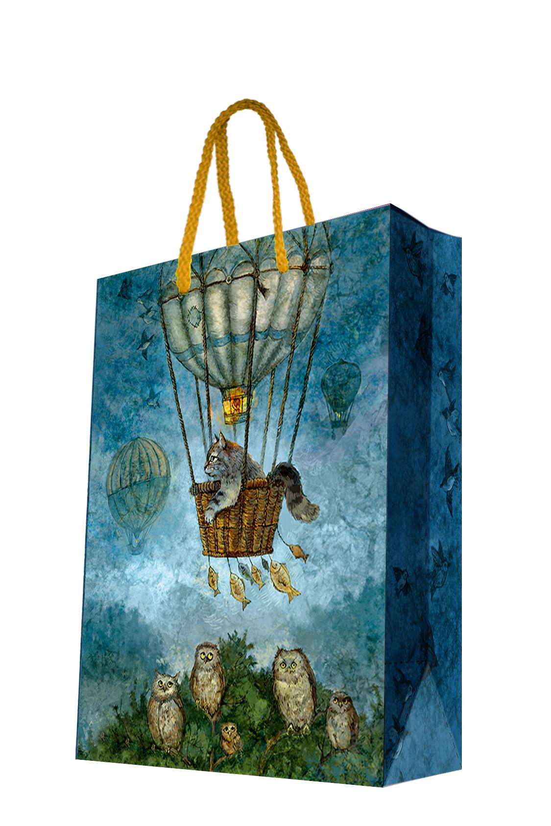 Пакет подарочный Magic Home Кот на воздушном шаре, 17,8 х 22,9 х 9,8 смNLED-454-9W-BKБумажный подарочный пакет Magic Home Нотр-Дам, изготовленный из плотной бумаги, станет незаменимым дополнением к выбранному подарку. Дно изделия укреплено картоном, который позволяет сохранить форму пакета и исключает возможность деформации дна под тяжестью подарка. Пакет выполнен с ламинацией, что придает ему прочность, а изображению - яркость и насыщенность цветов. Для удобной переноски имеются две ручки в виде шнурков. Подарок, преподнесенный в оригинальной упаковке, всегда будет самым эффектным и запоминающимся. Окружите близких людей вниманием и заботой, вручив презент в нарядном, праздничном оформлении.Плотность бумаги: 140 г/м2.