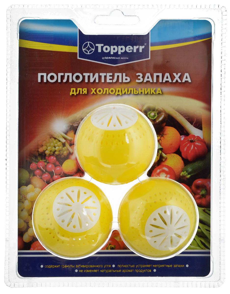 Поглотитель запаха для холодильника Topperr Шар, 3 шт106-026Поглотитель запаха для холодильника Topperr Шар полностью удаляет неприятные запахи в холодильнике. Средство содержит гранулы активированного угля, являющегося лучшим из адсорбентов. Активированный уголь способен полностью поглощать неприятные запахи даже таких продуктов, как чеснок, лук, сыр, рыба, не выделяя собственных запахов. Не воздействует на продукты и сохраняет их натуральные ароматы. Способ применения:Вскрыть защитную упаковку и поместить в холодильник. Эффективен в течение 2 месяцев с момента вскрытия защитной упаковки.Диаметр шара: 5 см.