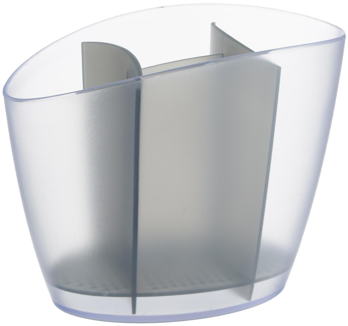 Сушилка для столовых приборов Tescoma Clean Kit, цвет: серый, 19,5 х 11 х 15,5 смVT-1520(SR)Сушилка Tescoma Clean Kit, выполненная из высококачественного пластика, прекрасно подходит для столовых приборов. Для легкости очищения снабжена вынимающейся подставкой для стока воды. Изделие хорошо впишется в интерьер, не займет много места, а столовые приборы будут всегда под рукой.Можно мыть в посудомоечной машине.Размер изделия: 19,5 х 11 х 15,5 см.