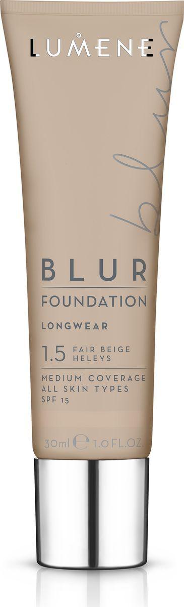 Lumene Blur SPF 15 Преображающий тональный крем № 1,5, 30 млNL290-82573Идеальное сочетание теплых цветовых пигментов и светоотражающих частиц в составе придают естественное сияние и визуально разглаживают кожу. Обладает стойким эффектом и защитой от UV- лучей, придает коже натуральный оттенок. Подходит для всех типов кожи. Оттенок 1,5.