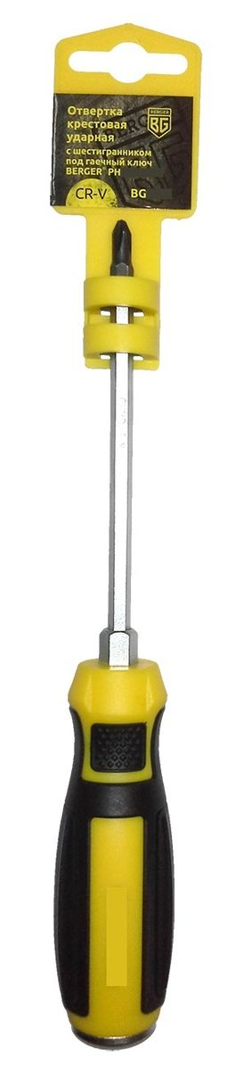 Отвертка крестовая Berger, ударная, с шестигранником под гаечный ключ, PH3 x 150 мм. BG1039CA-3505Отвертка на пластиковом держателе. Изготовлена из прочной и качественной хром-ванадиевой стали (CR-V). Благодаря особенностям конструкции можно сокращать процесс работы, ударяя по тыловой части инструмента молотком. Используется как ударный инструмент. Усиленный стержень позволяет откручивать заржавевшие крепежные изделия.
