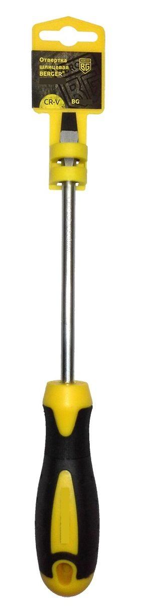 Отвертка шлицевая Berger, 6,5 x 38 мм. BG1045CA-3505Отвертка - крестовая на пластиковом держателе. Материал: хром - ванадиевая сталь (CR-V)