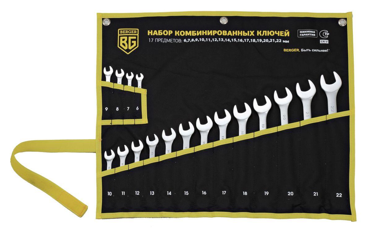 Набор ключей Berger, комбинированных, 17 предметов. BG1145JTC-1201Набор комбинированных ключей Berger изготовлен из хром-ванадиевой стали. Набор предназначен для монтажа и демонтажа резьбовых соединений. В набор входят ключи: 6, 7, 8, 9, 10, 11, 12, 13, 14, 15, 16, 17, 18, 19, 20, 21, 22 мм.