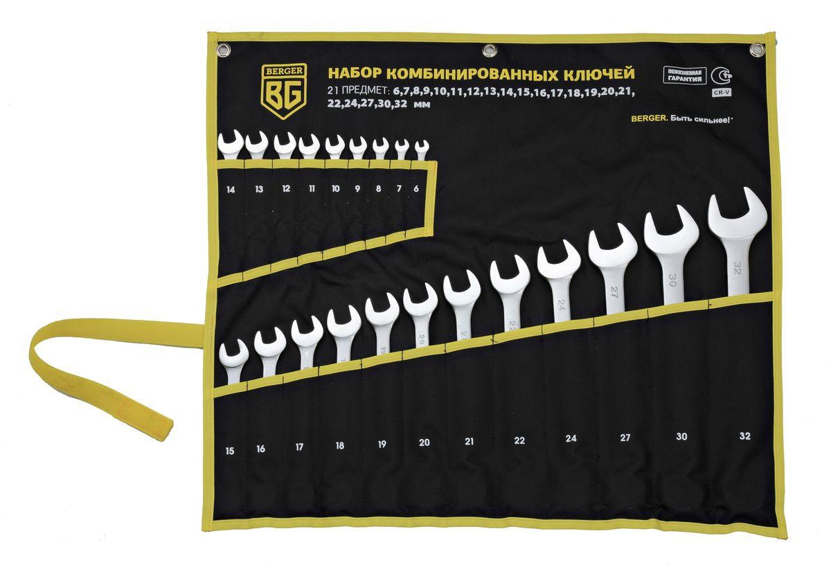 Набор ключей Berger, комбинированных, 21 предмет . BG1146FS-80423Ключи комбинированные 21 шт. 6, 7, 8, 9, 10, 11, 12, 13, 14, 15, 16, 17, 18, 19, 20, 21, 22, 24, 27, 30, 32 мм