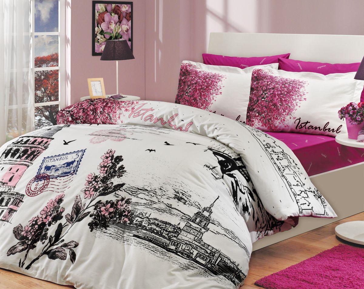 Комплект белья Hobby Home Collection Istanbul Panaroma, евро, наволочки 50x70, 70x70, цвет: розовый10503Комплект белья Hobby Home Collection состоит из простыни, пододеяльника и 4 наволочек. Белье выполнено из поплина - это ткань из 100% натурального хлопка. По легенде этот материал впервые произвели во французской резиденции Папы Римского, городе Авиньон. За это ткань назвали поплином, что означает папский. По своим характеристикам она напоминает бязь, однако, на ощупь гораздо более мягкая и гладкая. Прекрасные потребительские качества обеспечили поплину популярность у розничного покупателя: ткань не выцветает и не мнется, ее можно не гладить вообще; не линяет и не деформируется при стирке до сорока градусов; на сто процентов состоит из натуральных хлопковых волокон.