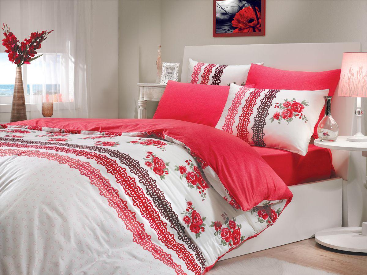 Комплект белья Hobby Home Collection Camila, 1,5-спальный, наволочки 50x70, 70x70, цвет: красныйRC-100BWCКомплект белья Hobby Home Collection состоит из простыни, пододеяльника и 2 наволочек. Белье выполнено из ранфорса - это ткань из 100% натурального хлопка, которая легко стирается, практичнее льна, подстраивается под температуру воздуха - зимой на таком белье тепло, летом - прохладно. Мягкость и нежность материала создает чувство комфорта и защищенности. У хлопка хорошая проводимость тепла, поэтому постельное белье из него может надолго оставаться свежим. Постельное белье с оригинальными дизайнами станет отличным выбором для людей, стремящихся всегда быть стильными.
