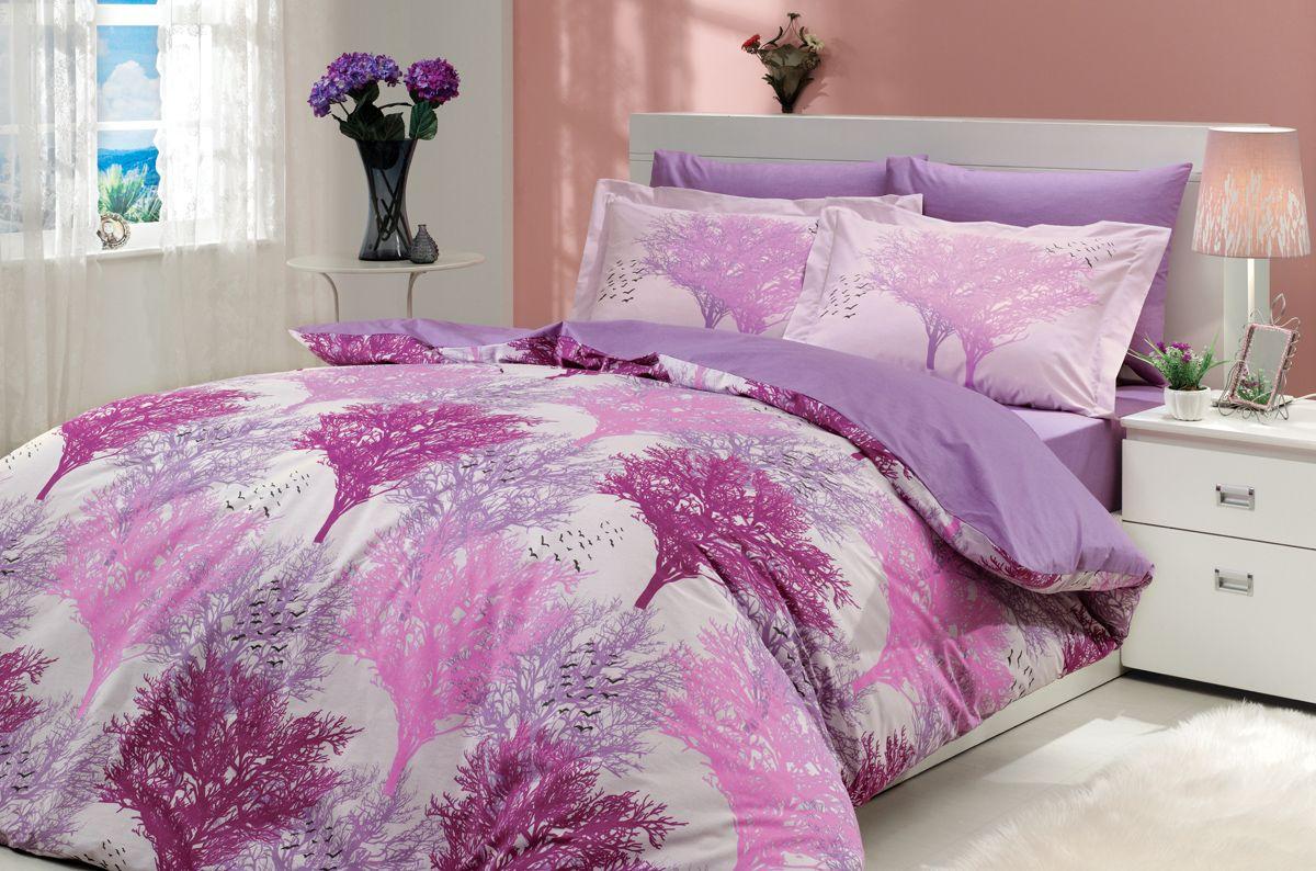 "Комплект белья Hobby Home Collection ""Juillet"", 2-спальный, наволочки 50х70, 70х70, цвет: фуксия"