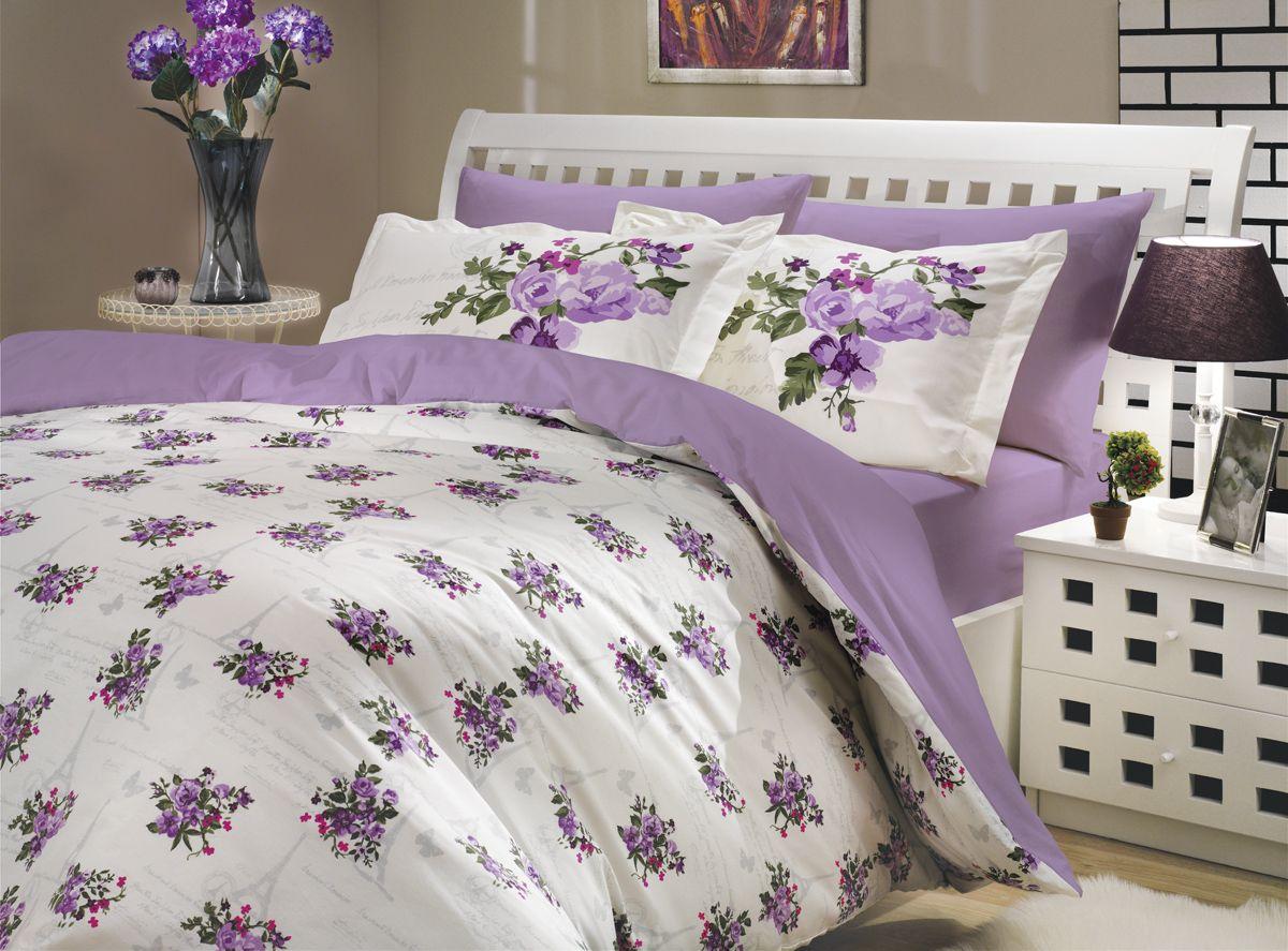 "Комплект белья Hobby Home Collection ""Paris Spring"", 2-спальный, наволочки 50х70, 70х70, цвет: лиловый"