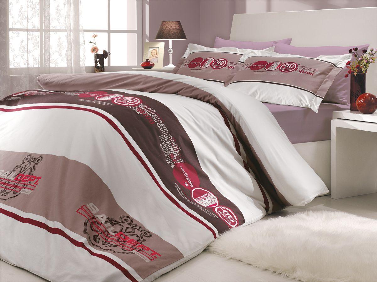 "Комплект белья Hobby Home Collection ""Rota"", 2-спальный, наволочки 50х70, 70х70, цвет: бордовый"