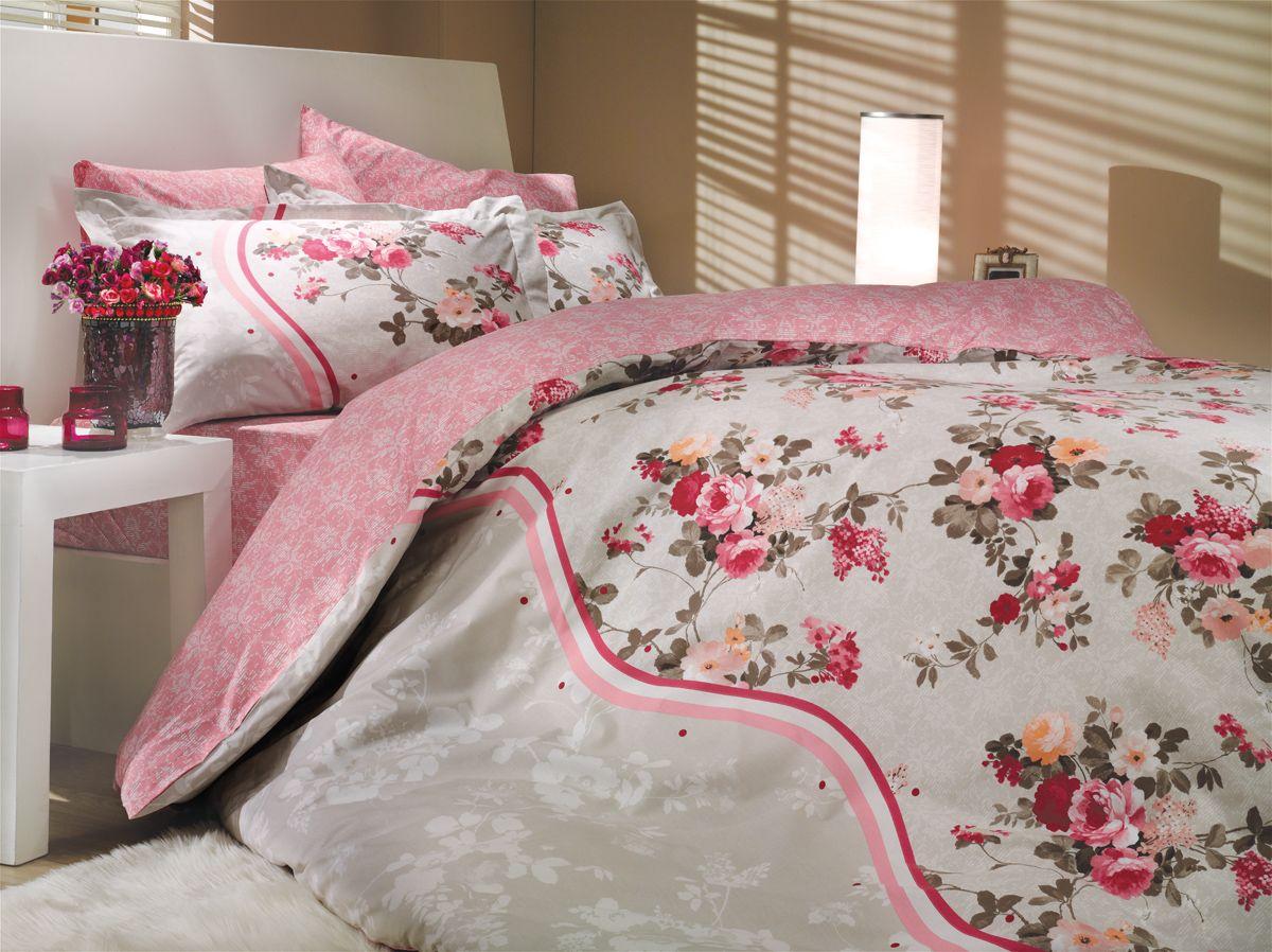 "Комплект белья Hobby Home Collection ""Susana"", 2-спальный, наволочки 50х70, 70х70, цвет: розовый"