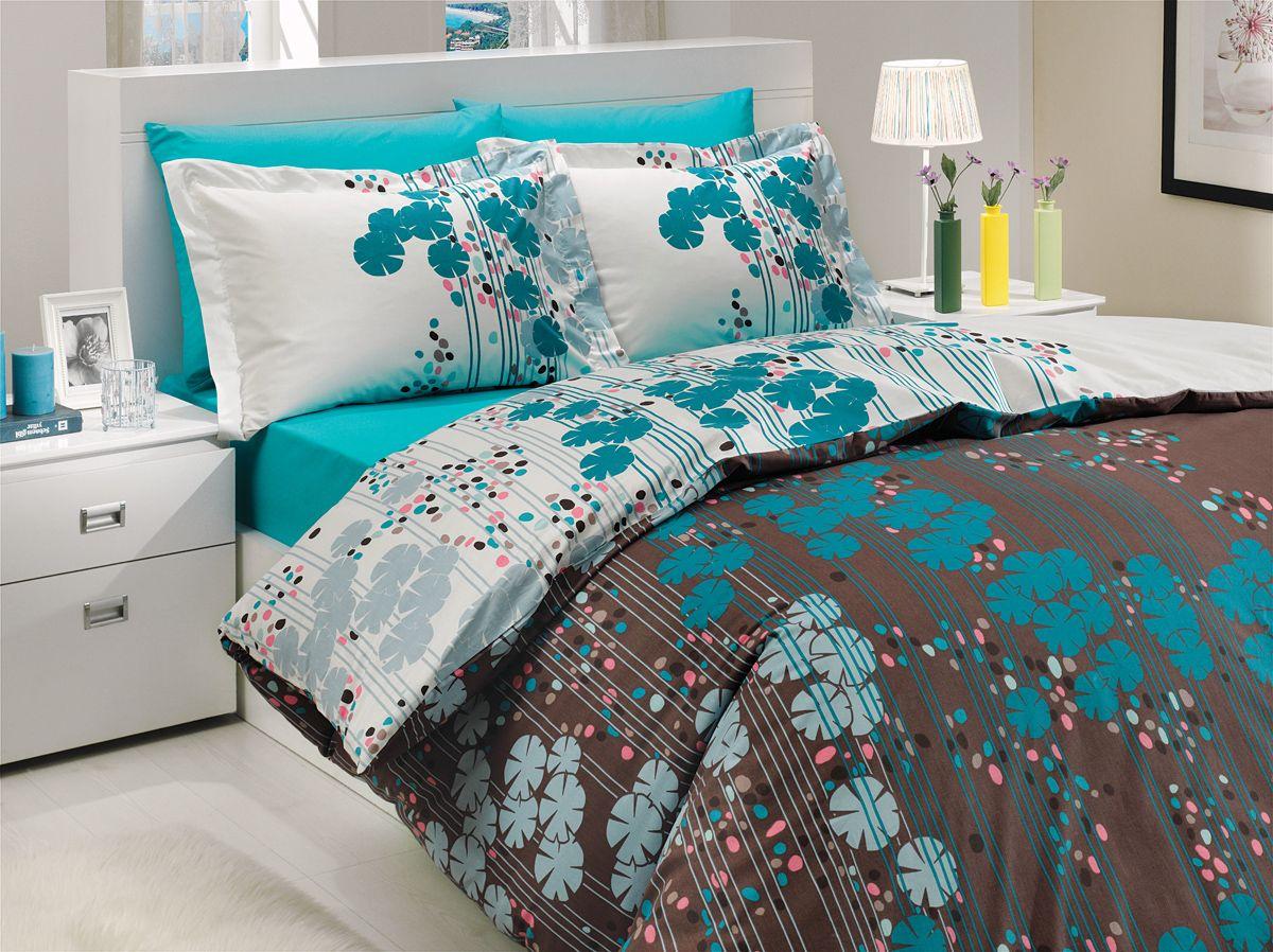 """Комплект белья Hobby Home Collection """"Ventura"""", 2-спальный, наволочки 50х70, 70х70, цвет: бирюзовый"""