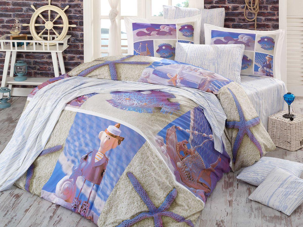 Комплект белья Hobby Home Collection Ocean, евро, наволочки 50x70, 70x70, цвет: мульти391602Комплект постельного белья Hobby Home Collection изготовлен из высококачественного поплина. Поплин - это ткань, изготавливаемая традиционным полотняным плетением из 100% хлопка, но из нитей разного калибра, за счет чего полотно получается с легким рубчиковым рельефом. По многим характеристикам ткань похожа на бязь, но на ощупь гораздо приятнее — более гладкая и мягкая. Поплин обладает лучшими свойствами ткани для постельного белья. Он плотный и в то же время мягкий на ощупь, износостойкий, немнущийся, гигроскопичный и неприхотливый в уходе, а после стирки практически не нуждается в глажке. Поплин обладает множеством преимуществ: - белье из него плотное, прочное и износостойкое; - не выцветает и не сминается; - не линяет и не деформируется (при стирке до 40°С); - натуральный хлопок в составе обеспечивает абсолютную гигиеничность постельного белья; - поплин хорошо вентилируется и впитывает влагу, отводя ее излишки от тела. По легенде этот материал впервые произвели во французской резиденции Папы Римского, городе Авиньон. За это ткань назвали поплином, что означает папский. С тех пор, вслед за Европой, полотно покорило весь мир, и на сегодня это самый востребованный материал для постельного белья. Постельное белье имеет 3D рисунок. Это объемный рисунок, который позволяет увидеть изображение более реальным, живым. 3D печать на постельном белье невозможна простым способом. Для достижения высокого качества применяется Digital textile printing (англ. Digital textile printing - прямая цифровая печать по текстилю) — способ нанесения изображения на ткань, предполагающий прямую реактивную печать. Сам вид такой печати обеспечивает долговечность нанесенного изображения. На ткань, наносится ультрачеткое и яркое 3D изображение, вследствие чего картинка выглядит очень реалистично. Просматриваются даже самые мелкие детали. Постельное белье из поплина способно не только создать идеальные услов
