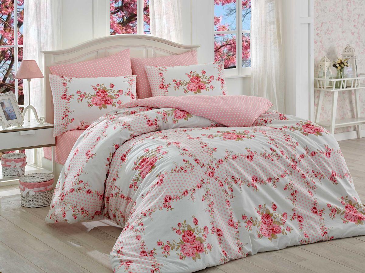 Комплект белья Hobby Home Collection Gloria, евро, наволочки 50x70, 70x70, цвет: розовый391602Комплект белья Hobby Home Collection состоит из простыни, пододеяльника и 4 наволочек. Белье выполнено из ранфорса - это ткань из 100% натурального хлопка, которая легко стирается, практичнее льна, подстраивается под температуру воздуха - зимой на таком белье тепло, летом - прохладно. Мягкость и нежность материала создает чувство комфорта и защищенности. У хлопка хорошая проводимость тепла, поэтому постельное белье из него может надолго оставаться свежим. Постельное белье с оригинальными дизайнами станет отличным выбором для людей, стремящихся всегда быть стильными.