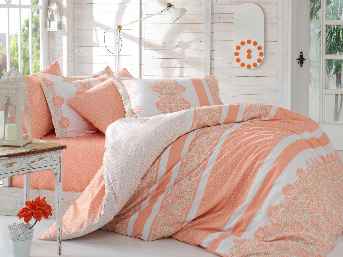 "Комплект белья Hobby Home Collection ""Lisa"", 2-спальный, наволочки 50х70, 70х70, цвет: персиковый"