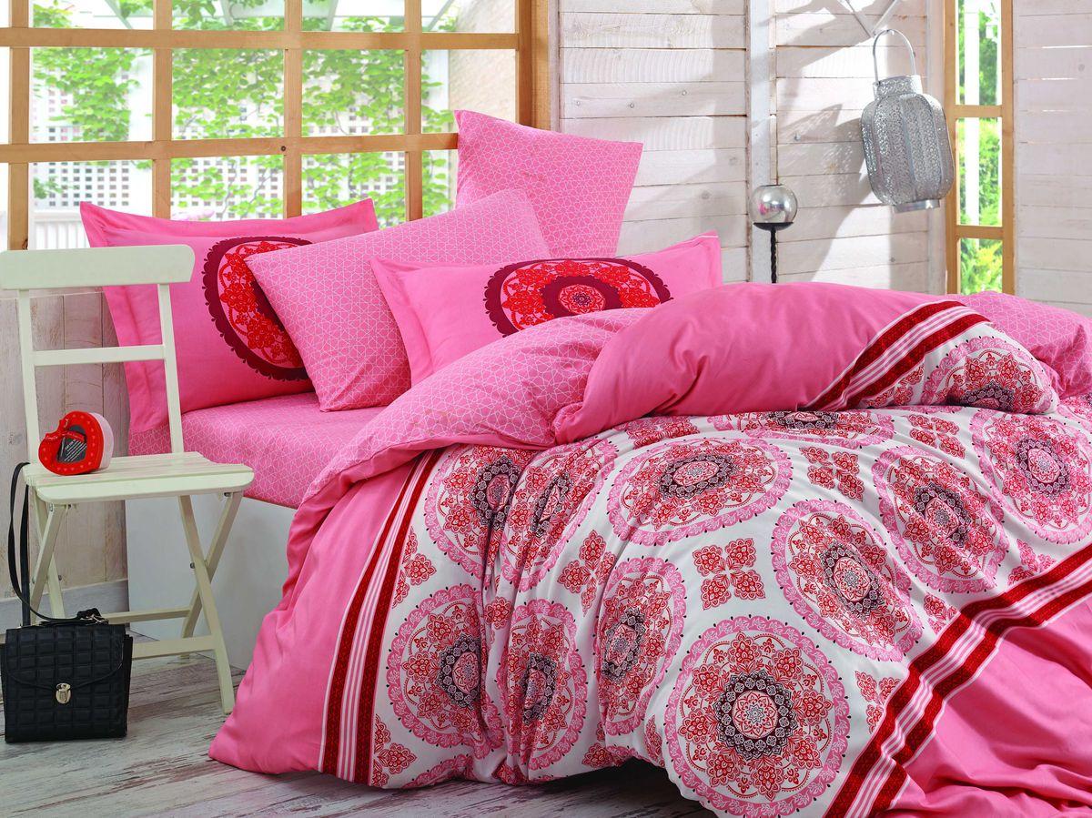"Комплект белья Hobby Home Collection ""Silvana"", 2-спальный, наволочки 50х70, 70х70, цвет: коралловый"