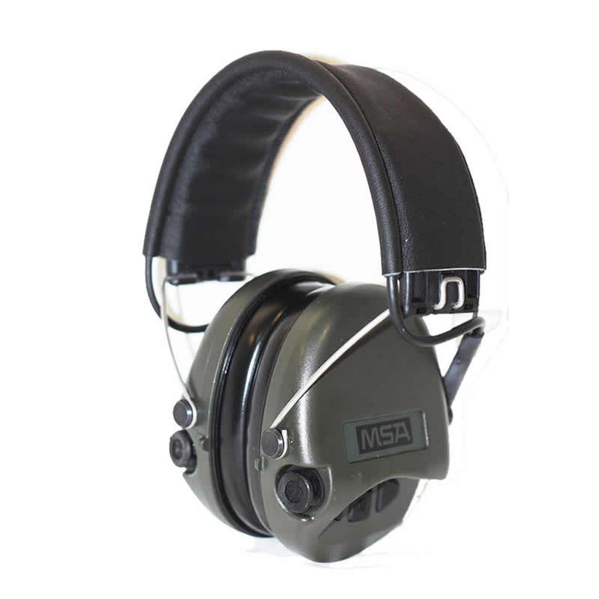 Наушники для стрельбы MSA Sordin Supreme Pro, активные527Активные наушники для стрельбы и охоты. Цвет ушных чашек – хаки. Усиливают слабый звук в 4 раза до 27 Дц и уменьшают шум до 82 Дц. Звуковая картинка на 360° градусов, звук Stereo. Два отдельных ветро-влагозащищенных микрофона. Звуковая пауза после отсечки шумовой волны менее 0,6 сек. Широкие кнопки включения с регулировкой громкости звука – 4 положения. Складные соединительные дужки, из прочной проволочной стали, покрытой антикоррозийным лаком. Дужки отделаны кожей. Предусмотрено прослушивание аудиозаписей через плеер/телефон, но основная функция – прослушивание сообщений через переносную радиостанцию. . Автоматическое отключение через 4 часа после начала использования. Предупреждение звуковым сигналом за 40 часов о низком заряде батареи. В комплекте две батарейки ААА, разъём AUX 3,5 мм., кабель. Вес: 310 гр. Гарантия 1 год.