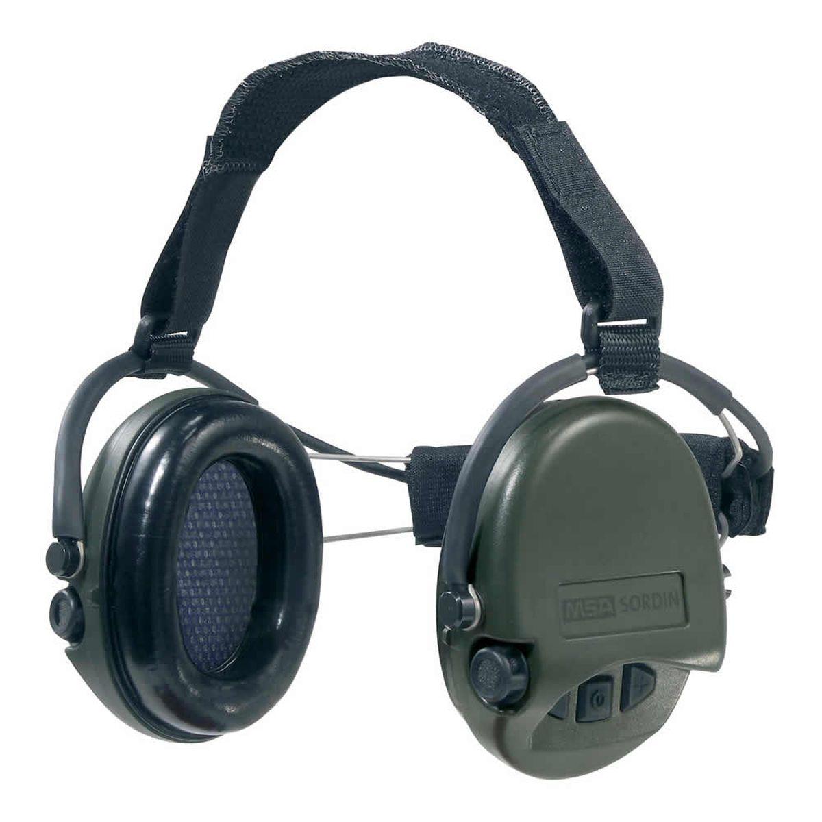Наушники для стрельбы MSA Sordin Supreme Pro Neckband, активныеSOR22010Главное отличие этой модели возможность использовать с шлемом или другим головным убором. Активные наушники для стрельбы и охоты. Цвет ушных чашек – хаки. Усиливают слабый звук в 4 раза до 27 Дц и уменьшают шум до 82 Дц. Звуковая картинка на 360° градусов, звук Stereo. Два отдельных ветро-влагозащищенных микрофона. Влагозащищенный батарейный отсек. Звуковая пауза после отсечки шумовой волны менее 0,6 сек. Широкие кнопки включения с регулировкой громкости звука – 4 положения. Складные соединительные дужки, из прочной проволочной стали, покрытой антикоррозийным лаком. Дужки отделаны кожей. Предусмотрено прослушивание аудиозаписей через плеер/телефон, но основная функция – прослушивание сообщений через переносную радиостанцию. Возможно использование PTT(двух-полосная связь). Автоматическое отключение через 4 часа после начала использования. Предупреждение звуковым сигналом за 40 часов о низком заряде батареи. В комплекте две батарейки ААА, разъём AUX 3,5 мм., кабель. Вес: 310 гр. Гарантия 1 год.