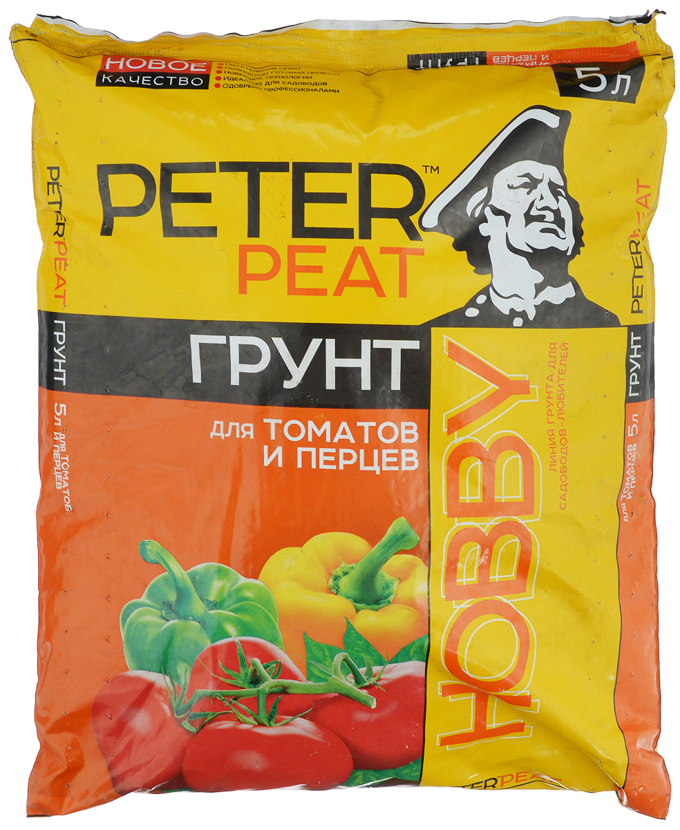 Грунт для растений Peter Peat Для томатов и перцев, 5 лGC204/30Peter Peat Для томатов и перцев - питательный торфяной грунт. предназначен для выращивания рассады томатов, перцев, баклажанов, а также их подкормки в период роста и плодоношения. Улучшает всхожесть семян и приживаемость рассады.