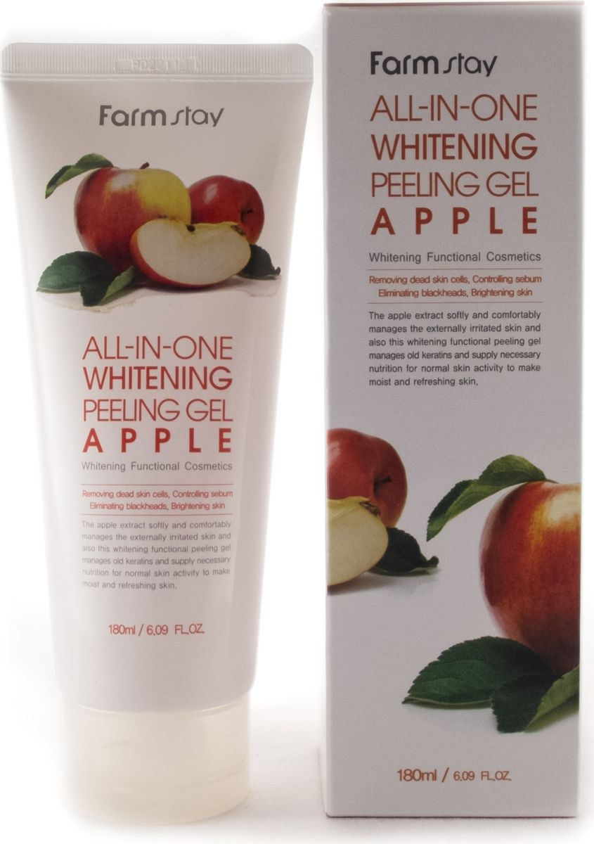 FarmStay Пиллинг гель с экстрактом яблока, 180 млFS-00897Пилинг гель с экстрактом яблока обладает скатывающимся эффектом (очищает кожу лица, не царапая её), а также прекрасно очищает кожу от мертвых клеток, борется с пигментацией, нормализует выделение кожного жира, очищает поры, борется с черными точками. Насыщен гликолевой, молочной и лимонной кислотами, а также экстрактом алоэ вера. Благодаря мягкому действию очистки, гель не провоцирует раздражения. Исключается проблема механических повреждений. Данный пиллинг не содержит неприятных запахов, подходит для нормальной и жирной кожи.