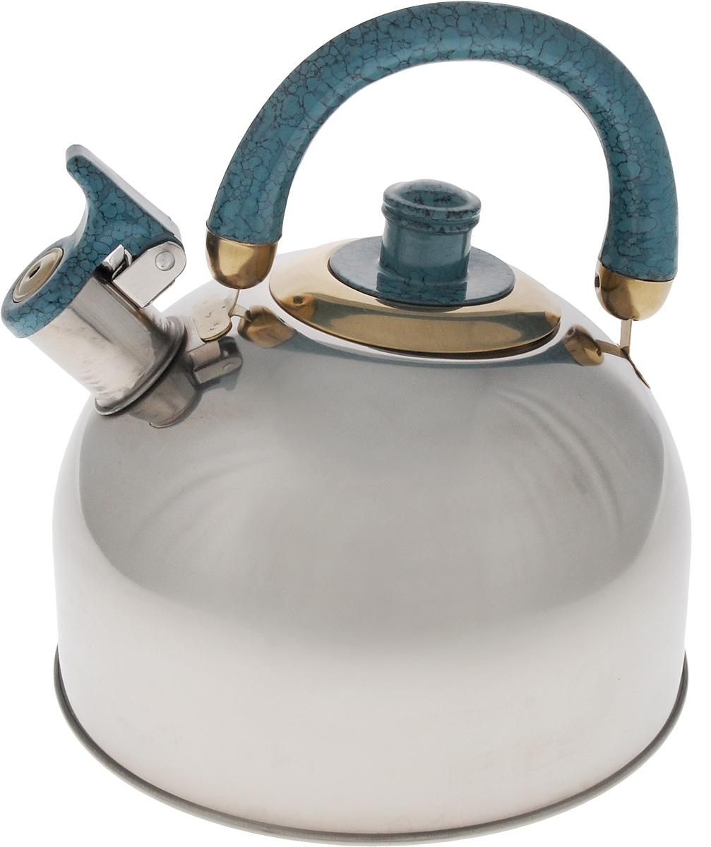 Чайник Mayer & Boch, со свистком, цвет: стальной, бирюзовый, золотистый, 3,5 л. 1069VT-1520(SR)Чайник Mayer & Boch изготовлен из высококачественной нержавеющей стали, что делает его весьма гигиеничным и устойчивым к износу при длительном использовании. Утолщенное дно обеспечивает равномерный и быстрый нагрев, поэтому вода закипает гораздо быстрее, чем в обычных чайниках. Чайник оснащен откидным свистком, звуковой сигнал которого подскажет, когда закипит вода. Подвижная ручка из бакелита дает дополнительное удобство при разлитии напитка. Чайник Mayer & Boch идеально впишется в интерьер любой кухни и станет замечательным подарком к любому случаю. Подходит для газовых, стеклокерамических, галогеновых и электрических плит. Не подходит для индукционных. Можно мыть в посудомоечной машине. Высота чайника (без учета ручки и крышки): 13 см.Высота чайника (с учетом ручки и крышки): 21,5 см.Диаметр чайника (по верхнему краю): 8,5 см.