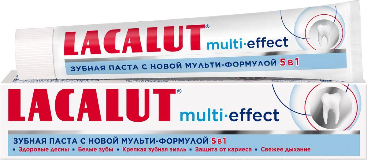 Lacalut Зубная паста Мульти эффект, 75мл114322Зубная паста Lacalut Multi-effect, 75мл.Lacalut Multi-effect - новая зубная паста с мульти-формулой 5 в 1 для всестороннего ухода за полостью рта. Благодаря уникальному составу она: - Восстанавливает зубную эмаль.- Защищает от кариеса.- Укрепляет дёсны.- Уменьшает окрашивание зубов.- Освежает дыхание.Благодаря новейшей мульти-формуле 5 в 1 Lacalut Multi-effect станет незаменимой пастой для всей семьи. При использовании новинки Вы получаете крепкую зубную эмаль, здоровые дёсны, свежее дыхание, белоснежную улыбку, защиту от кариеса. Одна паста - пять эффектов!