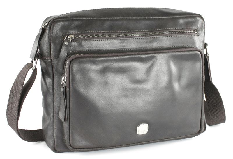 Сумка мужская Wenger, цвет: темно-коричневый. W31-02EQW-M710DB-1A1Сумка Wenger выполнена из натуральной кожи зернистой текстуры. На лицевой стороне расположен один вшитый карман на молнии и один объемный карман для мелочей на молнии. На тыльной стороне расположен вшитый карман на молнии. Изделие оснащено удобным плечевым ремнем, длину которого можно изменять с помощью пряжки. Сумка закрывается с помощью застежки-молнии. Внутри расположено главное отделение, которое содержит2 держателя для ручек, специальный универсальный карман для любой модели мобильного телефона, а также предусмотрено отделение для планшетного компьютера или ноутбука, с диагональю до 11 дюймов.