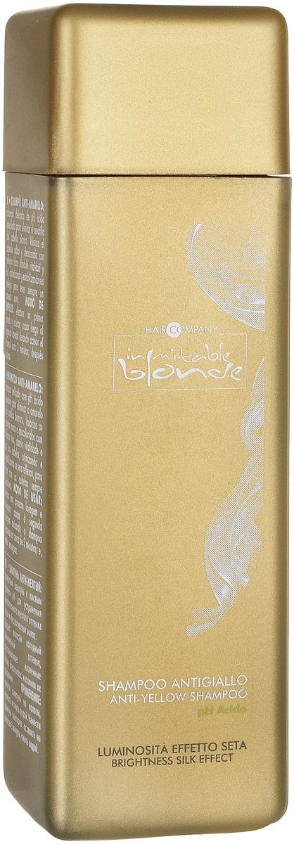 Hair Company Шампунь анти-желтый Inimitable Blonde Anti-Yellow Shampoo 250 млMP59.4DДеликатный Анти-жёлтый шампунь с кислым PH разработан для устранения нежелательного желтого оттенка седых и обесцвеченных волос. Придает волосам здоровый вид, жизненный блеск и сияние, оптимизирует и стабилизирует оттенок.