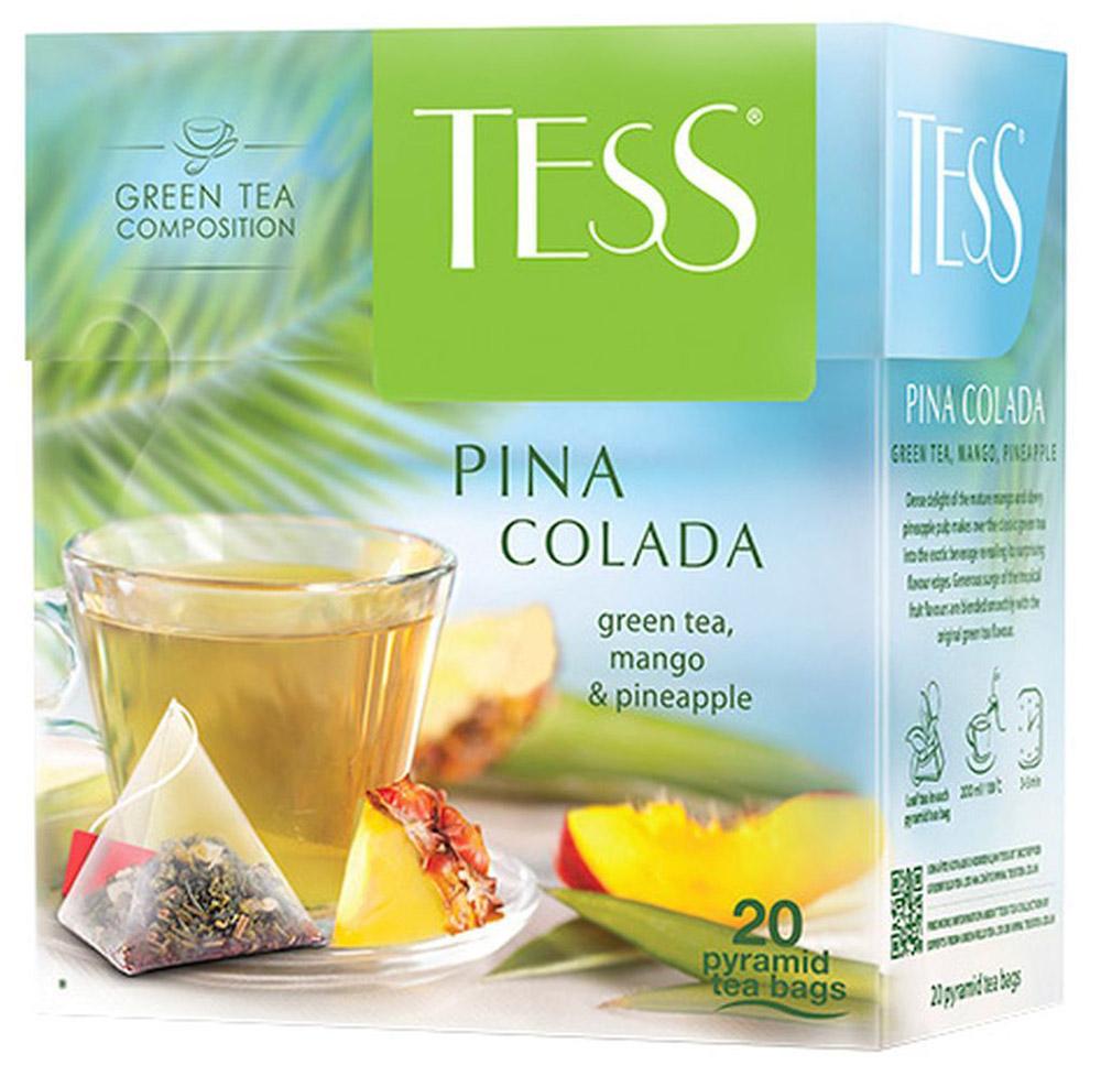 Tess Pina Colada ароматизированный чай в пакетиках, 20 шт101246Плотная сладость спелого манго и свежая сочность ананаса превращают классический зеленый чай в экзотический напиток, открывая в нем неожиданные грани вкуса. Щедрая волна ароматов тропических фруктов гармонично сочетается со вкусом зеленого чая.
