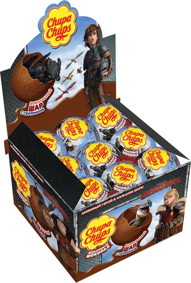 Chupa Chups Как приручить дракона-2 молочный шоколад, 18 шт по 20 г646551, 646899, 645626, 4008442, 4012139Внутри каждого шоколадного шара Чупа Чупс ты найдёшь новую игрушку, а снаружи - именно такой шоколад, как ты любишь. Какая игрушка попадётся тебе в этот раз??? Соберите всю коллекцию и обменивайтесь с друзьями!