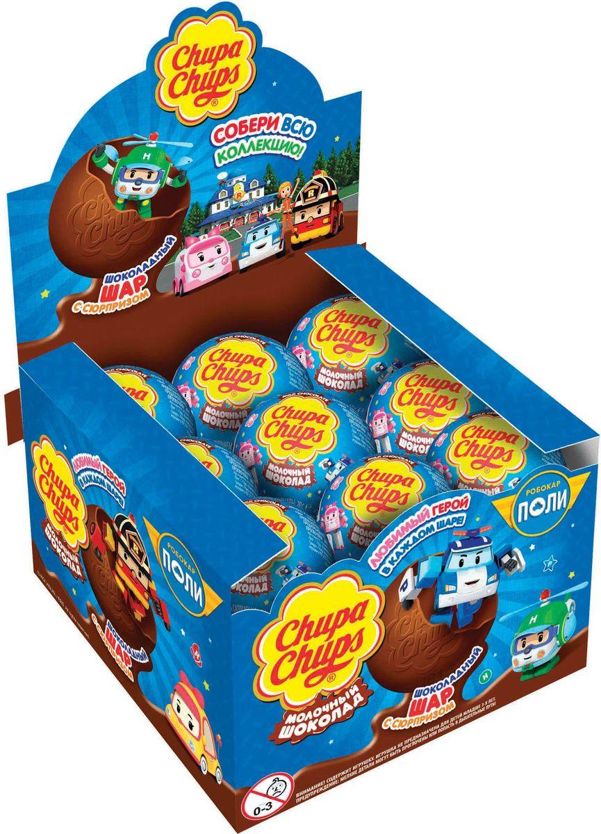 Chupa Chups Робокар Поли молочный шоколад, 18 шт по 20 г0120710Внутри каждого шоколадного шара Чупа Чупс вы найдёте новую игрушку, а снаружи - именно такой шоколад, как вы любите. Какая игрушка попадётся вам в этот раз? Соберите всю коллекцию и обменивайтесь с друзьями!Сколько раз твои игрушки попадали в трудные ситуации? Падали за диван, тонули в луже или вовсе пропадали? Наконец, у них будет своя команда спасателей. Робокар Поли и его друзья всегда готовы прийти на помощь. Ищи робокаров в новой коллекции шоколадных шаров Чупа Чупс.Внимание! Содержит игрушку. Игрушка не предназначена для детей младше 3-х лет.Мелкие детали могут быть проглочены и попасть в дыхательные пути.