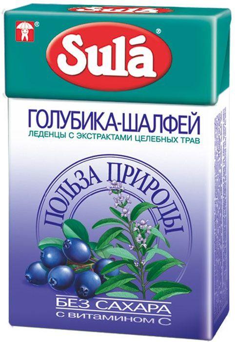 Sula Голубика-Шалфей леденцы, 40 г0120710Голубика - богатый источник витаминов, органических кислот и минеральных солей. Шалфей обладает противовоспалительными свойствами, насыщен витаминами В1, С и Р.