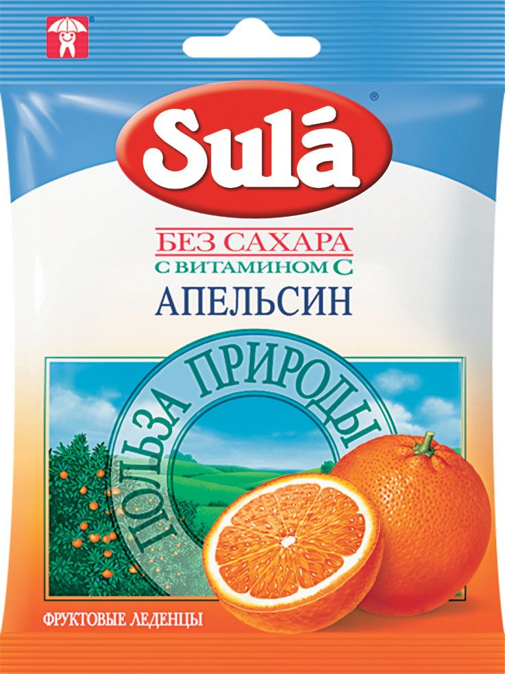 Sula Апельсин фруктовые леденцы, 60 г